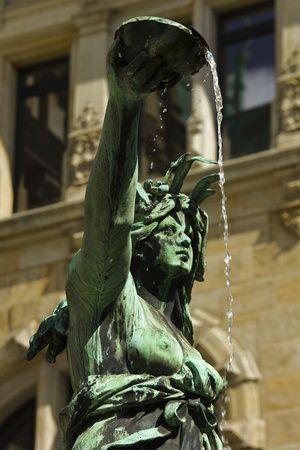 Neo-Renaissance Statue in a Fountain at the Hamburg Rathaus (City Hall), Hamburg, Germany