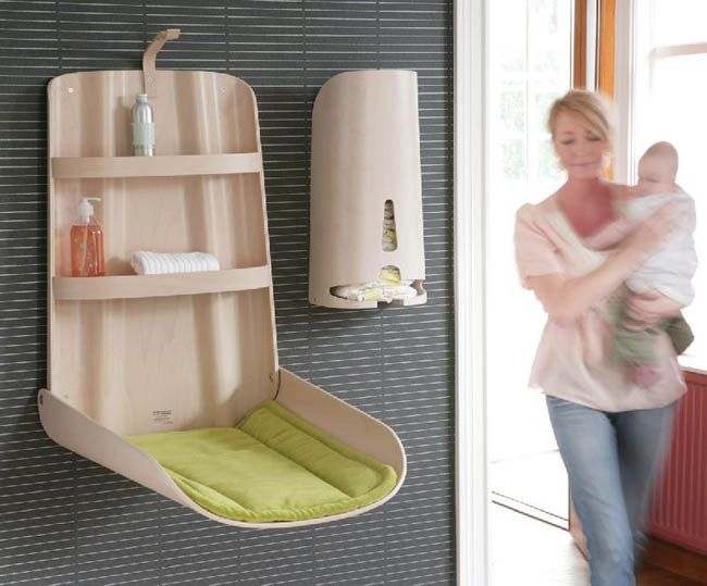 Combination Changing Table And Care Product Storage