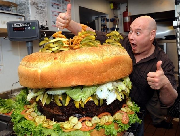 Perhaps you can order the 3-foot-tall, 319-pound, 540,000-calorie ridiculous burger, which is now available for mail order from Mallie's Sports Bar in Southgate, Michigan. For only $2,000 plus shipping, you're guaranteed to have more than enough food.