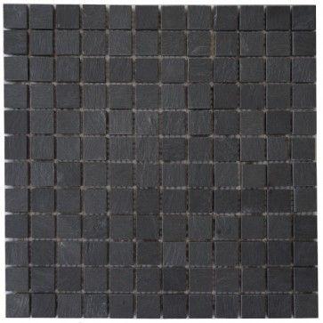 Mozaïek tegel leisteen 30x30 cm | Kleur: Antraciet zwart | Geschikt voor badkamer, toilet, douche, keuken, woonkamer, slaapkamer, hal | Topmozaïek24