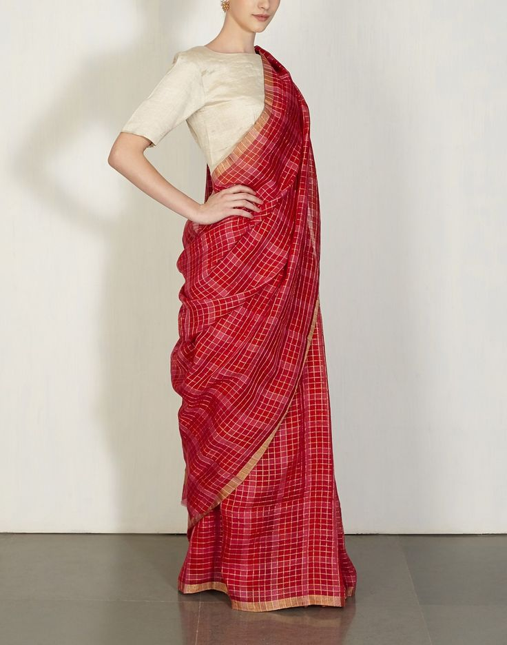 Red & Hot Pink Checks Sari Anavila : Pinned by Sujayita