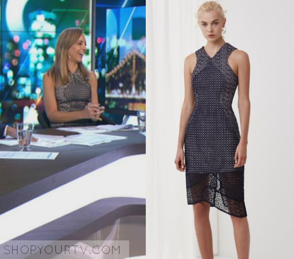 The Project: March 2017 Carrie's Printed Midi Dress | Carrie Bickmore wears this sleeveless printed midi dress in this episode of The Project on March 30th 2017.  It is the Keepsake Easy Love Midi Dress in Navy.