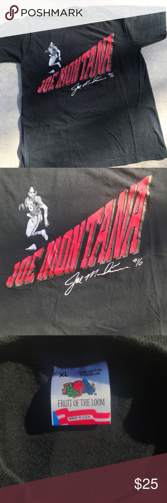 Vintage 80s Joe Montana SF 49ers  shirt XL Nice condition Fruit of the Loom Shirts Tees - Short Sleeve