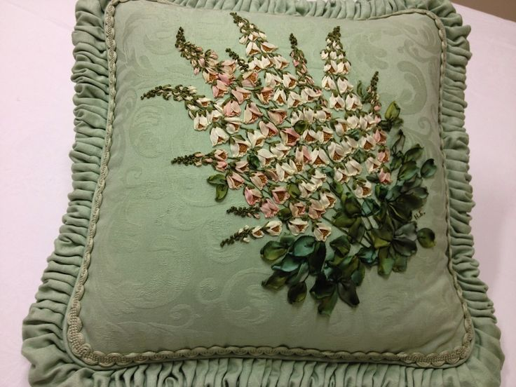 "Helen Eriksson Ribbon Embroidery ""Foxglove"" Cushion"