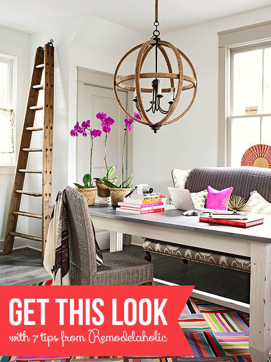 Love The Hits Of Color And The Unique Desk/couch Combo For The Home Office    As Well As The Light Fixture!