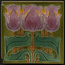 TH2917 Fabulous Marsden Art Nouveau Majolica Triple Tulip Tile Rd.1901
