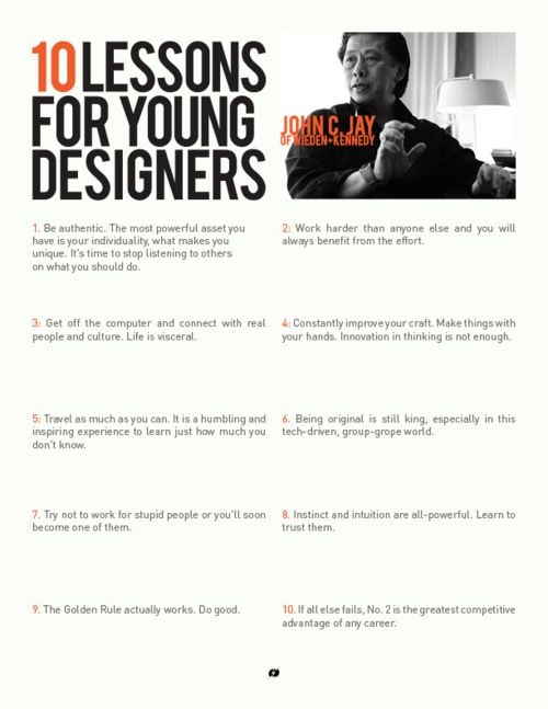 10 lessons for young designers. All so true.