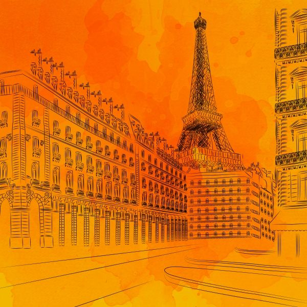 """Parisian Sunsets"" by Fotios Pavlopoulos on Displate #paris #city #drawing #architecture #urban #displate #eiffel #tower"