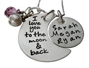 Personalized I Love You to the Moon and Back Necklace - Personalized Hand Stamped Jewelry