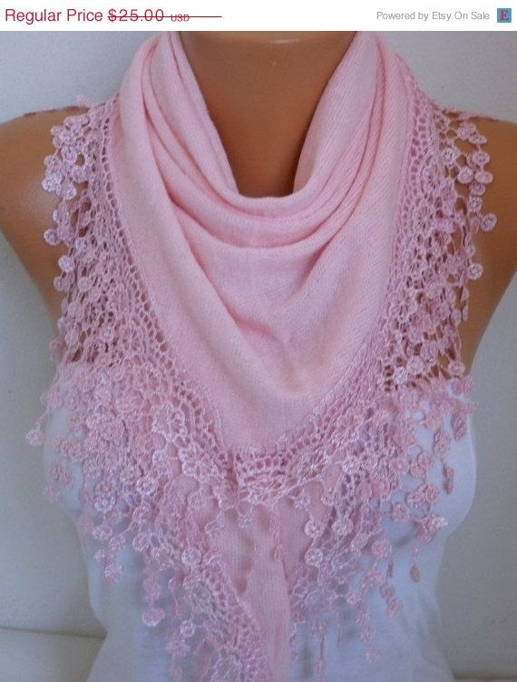 Pink Knitted Scarf Shawl Cowl Lace Oversized by fatwoman on Etsy