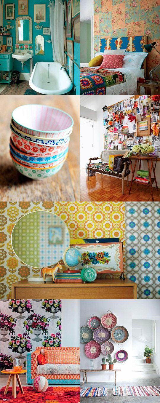 Love the colors and patterns in these vintage inspired homes/photos.