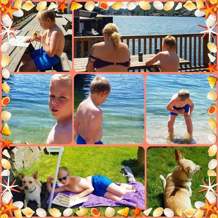 Vi har hatt en deilig dag på stranden.  #stranden #sommer #sol #bade #oliverthedog #barnebarn