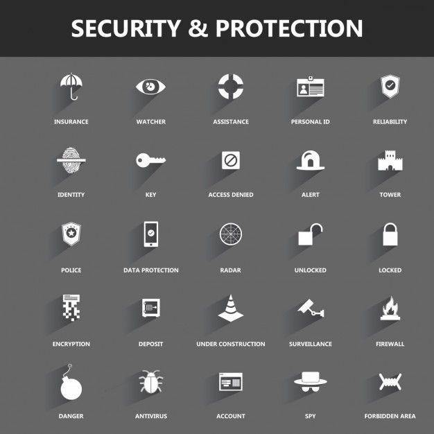 セキュリティと保護についてのアイコン 無料ベクター