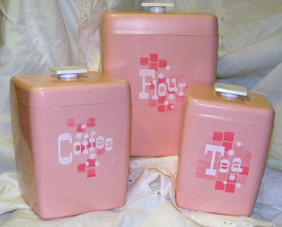 Retro Vintage Pink Plastic Kitchen Canister Set By ThatWasWhat, $44.00