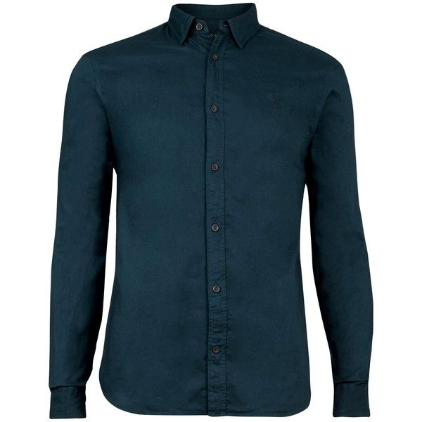 AllSaints Topanga Long Sleeve Shirt (27.690 HUF) ❤ liked on Polyvore featuring men's fashion, men's clothing, men's shirts, men's casual shirts, men shirts casual shirts, mens long sleeve casual shirts, mens classic fit shirts, mens french cuff shirts, mens button down collar shirts and mens embroidered shirts