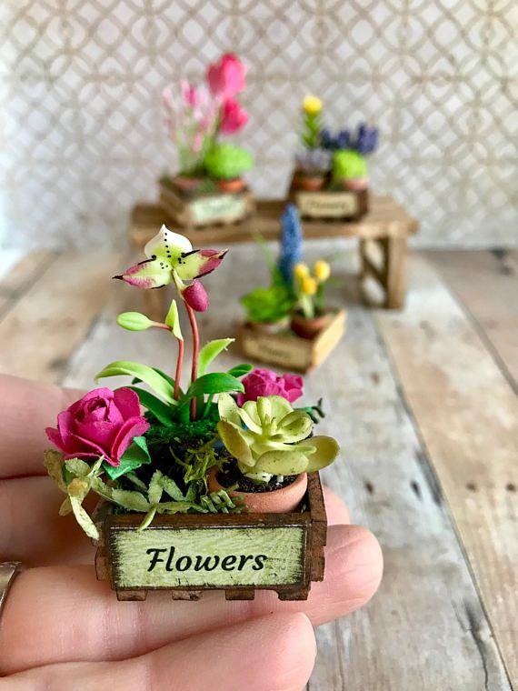 New Mini Lovely Clay Flower For 1:12 Miniature Dollhouse Home Dekor DIY .,w//