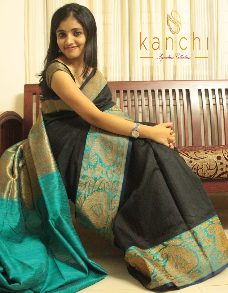 Code: KSC 005 Black banaras mutka silk saree with antique gold zari work on greenish blue border. To place an order/book the saree drop us an email with the relevant code at: Email: kanchi.signature@gmail.com Phone/Whtzap - 08089813556