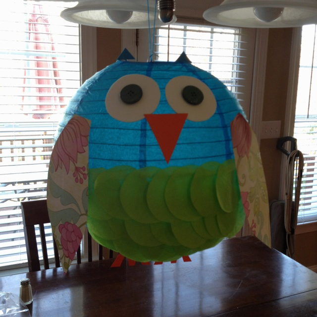 Paper lantern owl I made for Rae's Bday!