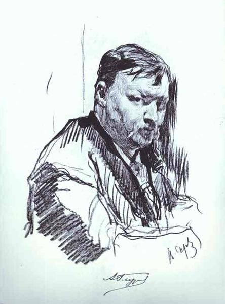 Portrait of the Composer Alexander Glazunov, 1899 by Valentin Serov. Realism. sketch and study