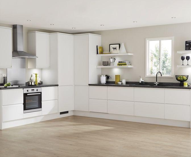 Clerkenwell Matt White Kitchens Feature Stylish Matt White Doors With An  Integrated Linear Pull Handle.