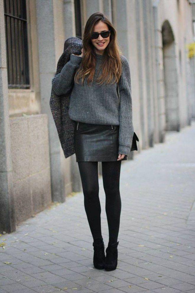 Kombinieren Sie den Lederrock: winterlich mit Pullover, Strumpfhosen und Stiefel…