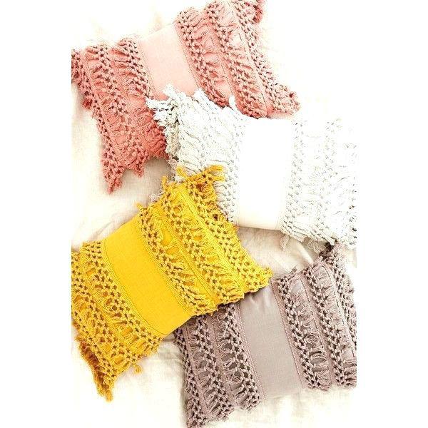 Mustard Yellow Throw Blanket Mustard Yellow Throw Pillows Net Tassel Bolster Pillow A Liked On Featuring Home Home Yel Yellow Throw Pillows Pillows Diy Pillows
