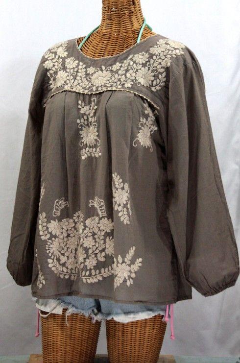 """La Mariposa Larga"" Embroidered Mexican Blouse - Fog Grey"