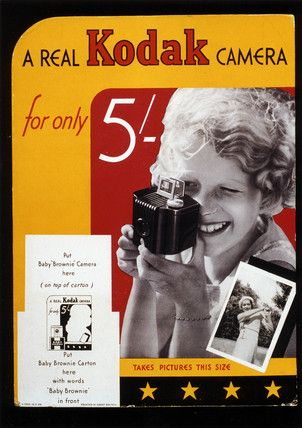 Unattributed -- 'A Real Kodak Camera for only 5/-', Kodak Brownie advertisement, c 1930s. -- High quality art prints, canvases, postcards, mugs -- SSPL Prints