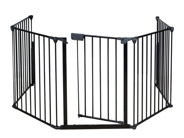 Baby Safety Fence Hearth Gate BBQ Metal Fire Gate Fireplace Pet Dog Cat Fence. Constructed of heavy duty tubular steel. All joints easily rotate and lock for secure attachment. Comes with a door with handle to make it easy for you to get through to your fireplace, or grill. Safety for use around fireplaces, grills, wood burning stoves, etc. It can be installed in areas that don't have mounting points straight across, making it customizable to fit your needs.