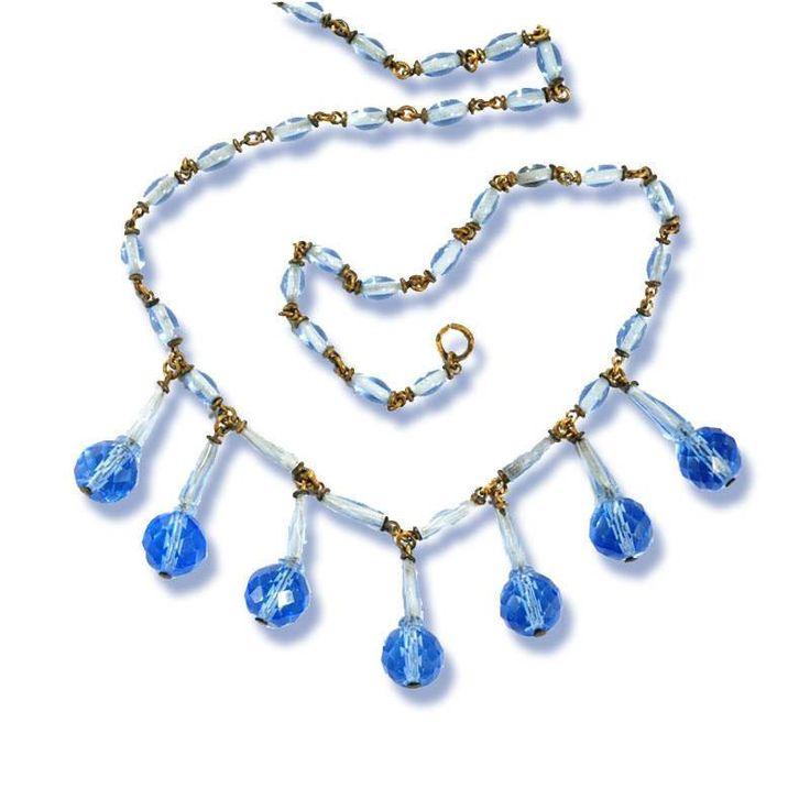 Crystal Blue Czech Glass Fringe Art Deco Necklace