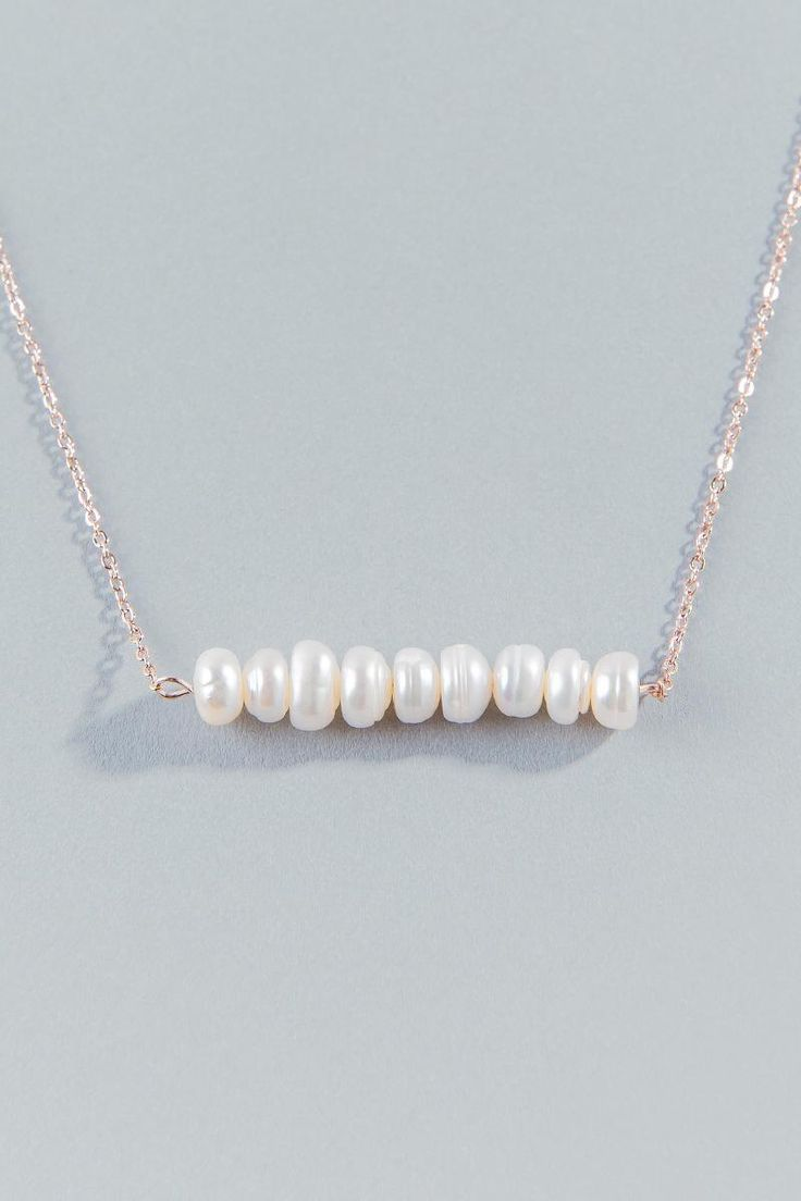 Salma Pearl Bar Necklace- Pearl alternate
