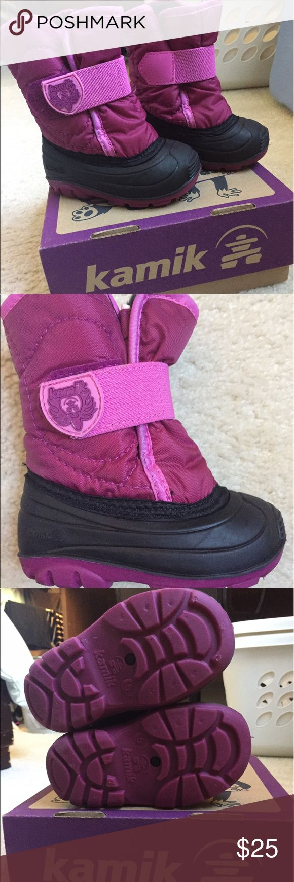 Kamik toddler girls winter snow boots, size 5 Worn once before growing out of them. High quality snow boot purchased at REI Kamik Shoes Rain & Snow Boots