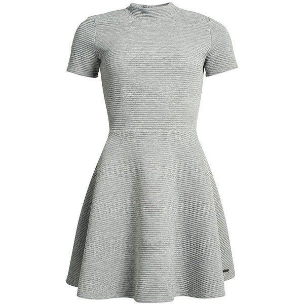 Superdry Erin Collar Dress found on Polyvore featuring dresses, grey, women, short sleeve skater dress, high neckline dress, fitted tops, high neck skater dress and grey dresses
