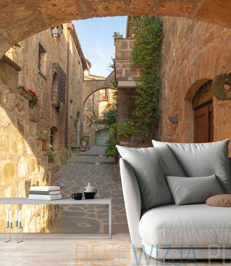 Fototapeta do salonu wąska uliczka w Toskanii
