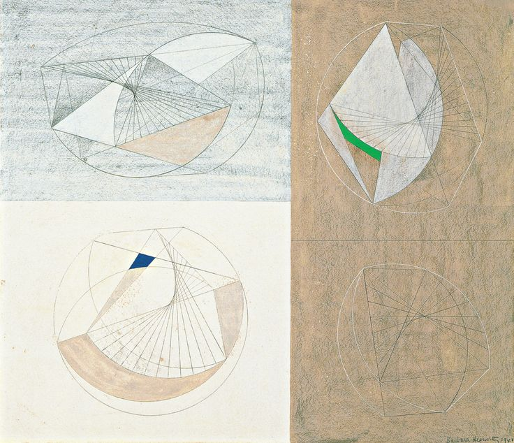 Barbara Hepworth Drawing For Sculpture With Color Pencil And Gouache On Paper Mounted Board
