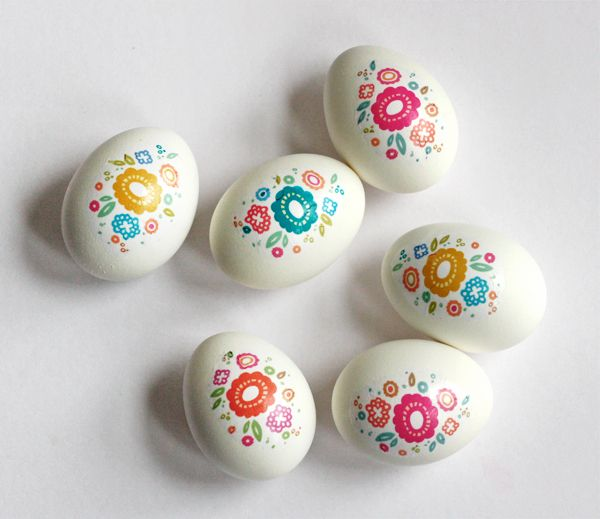 Floral Easter eggs with printable decals   How About Orange
