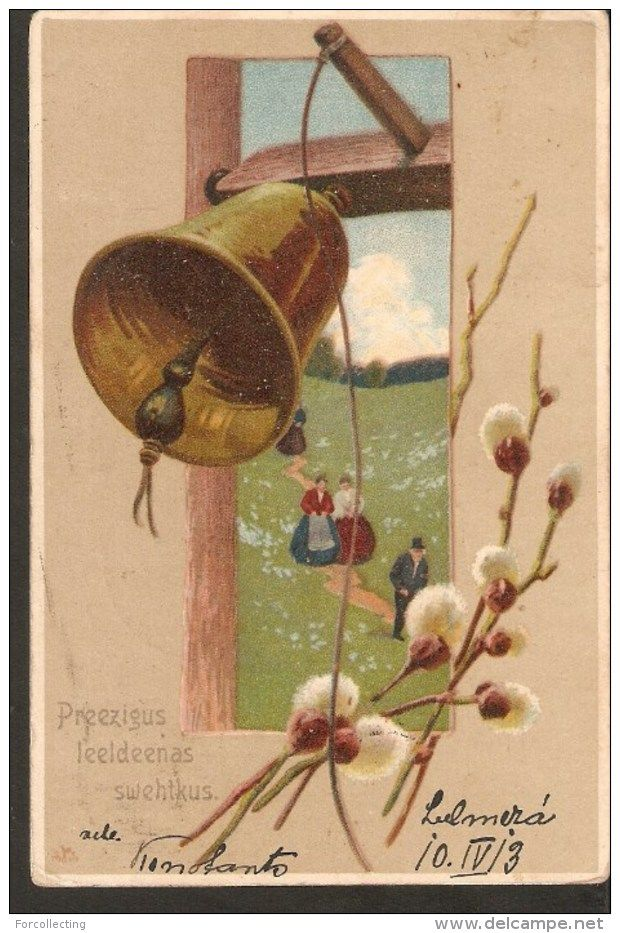 b16. Antique Easter Greetings postcard - bell pussy-willow people - passed post in 1913