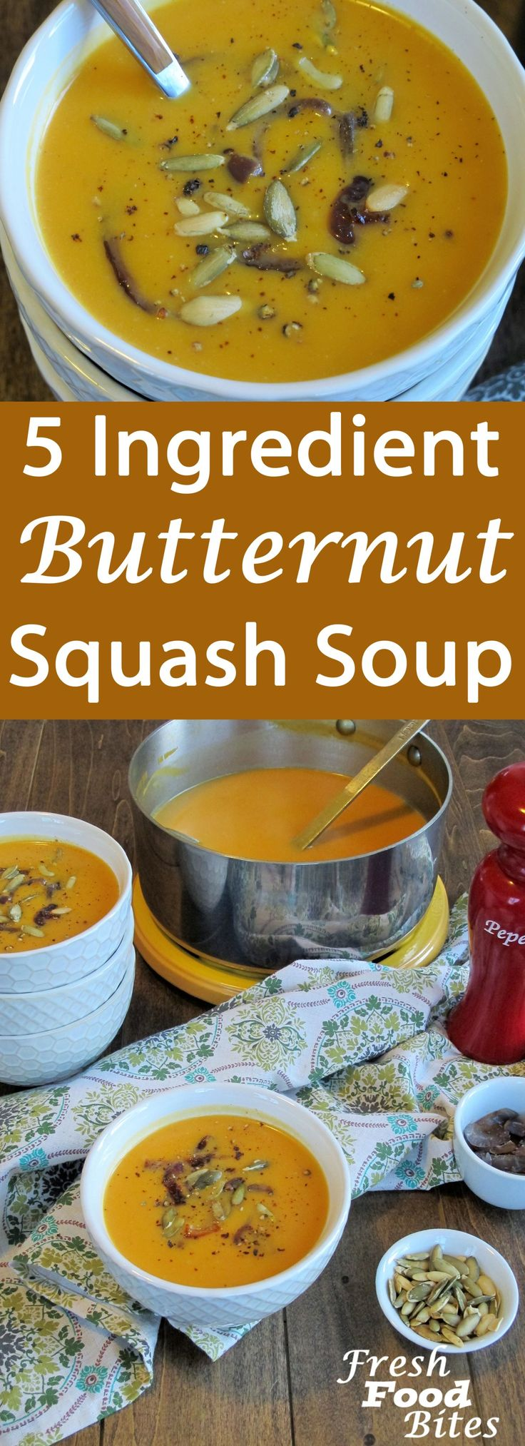 This silky, smooth 5 Ingredient Butternut Squash Soup is a perfect way to warm up on a chilly day. With just 5 ingredients and minimal effort, you'll have the soup whipped together in no time. Use a traditional blender or immersion blender to puree the soup into a thick, creamy soup that doesn't rely on added cream or thickeners.