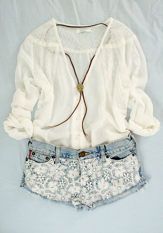 Shorts♥Fashion, Summer Looks, Summer Outfit, Style, Clothing, Cute Outfit, Denim Shorts, Lace Shorts, Dreams Closets