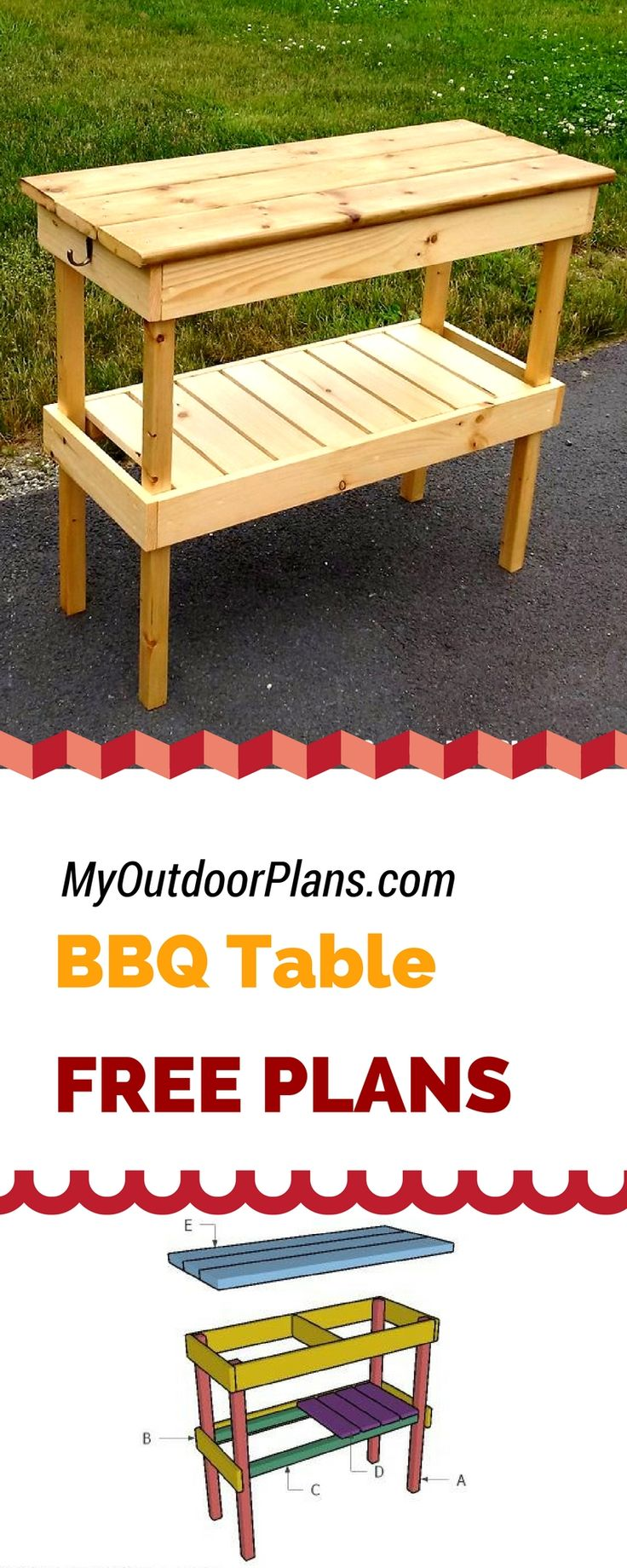 Easy to follow plans for you to build a bbq table for you backyard! Detailed tutorial on how to build a bbq table from common materials and tools! myoutdoorplans.com #diy #bbq