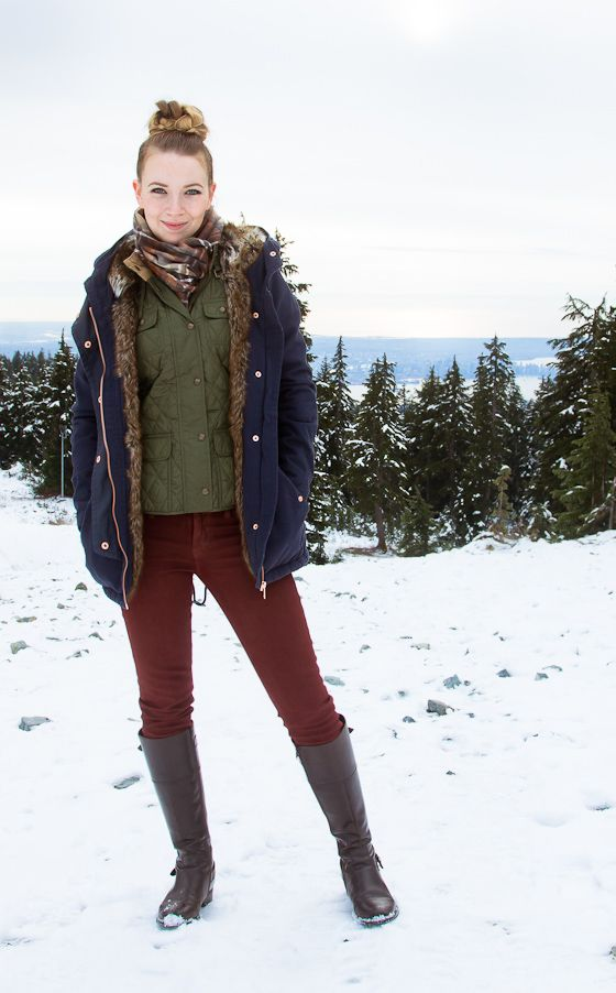 A snowy day outfit - boots red waxed jeans vest and jacket | Style | Pinterest | Jean vest ...