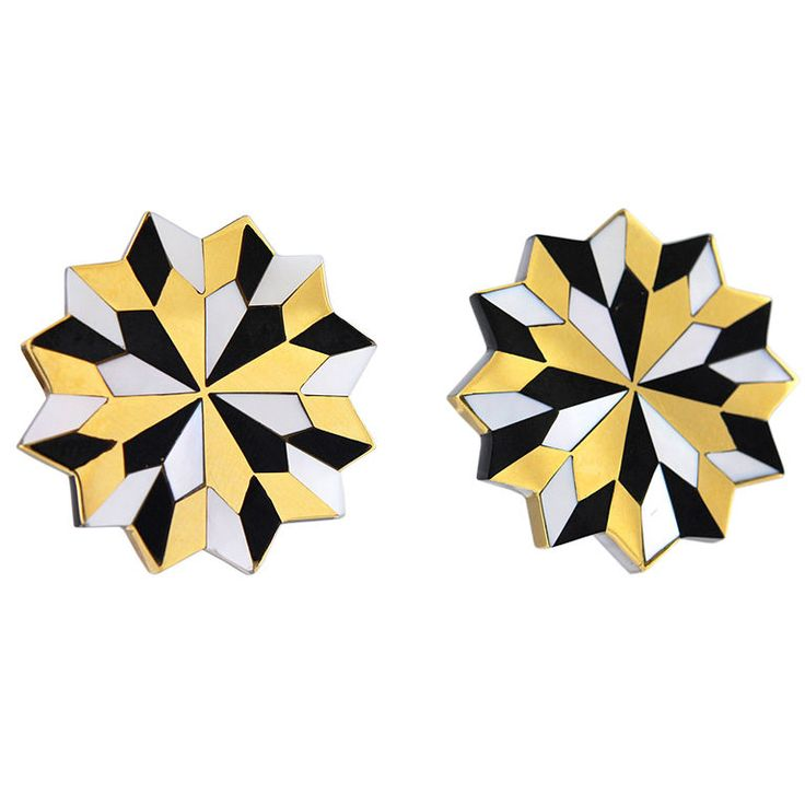Fabulous Angela Cummings /Tiffany&Co.Inlaid Earclips   From a unique collection of vintage clip-on earrings at http://www.1stdibs.com/jewelry/earrings/clip-on-earrings/