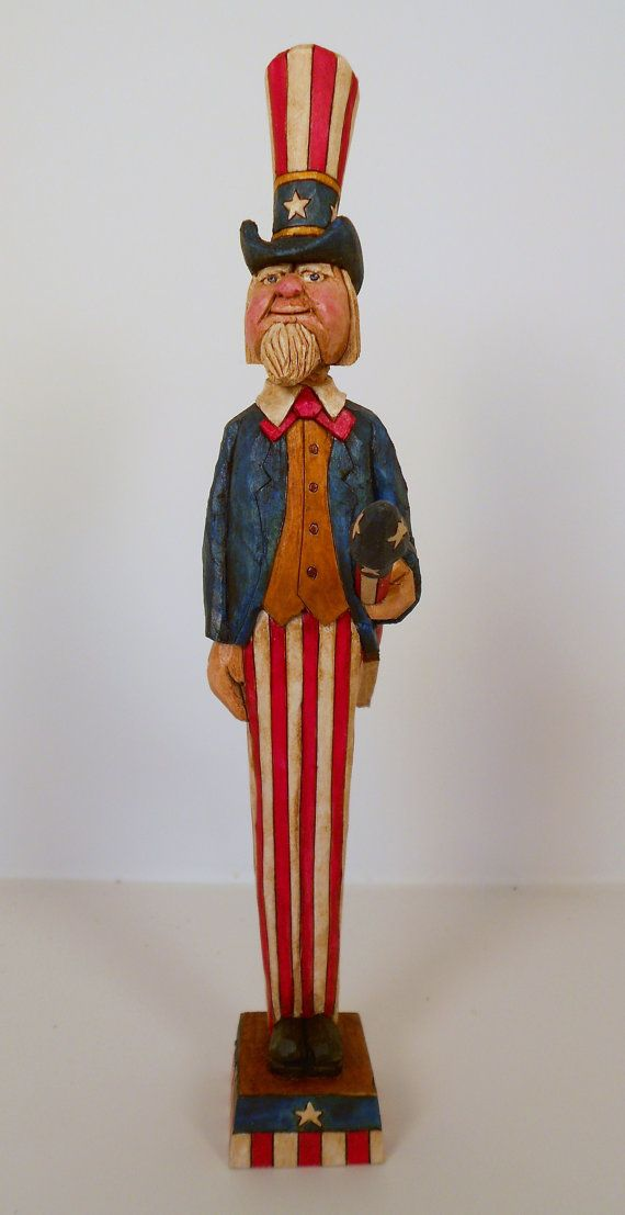 Hand Carved Uncle Sam Carrying A Rocket by TrueWoodcarvings, $58.00