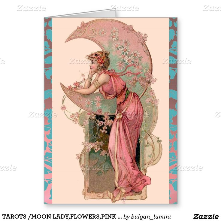 TAROTS /MOON LADY,FLOWERS,PINK ROSES,BLUE DAMASK GREETING CARD