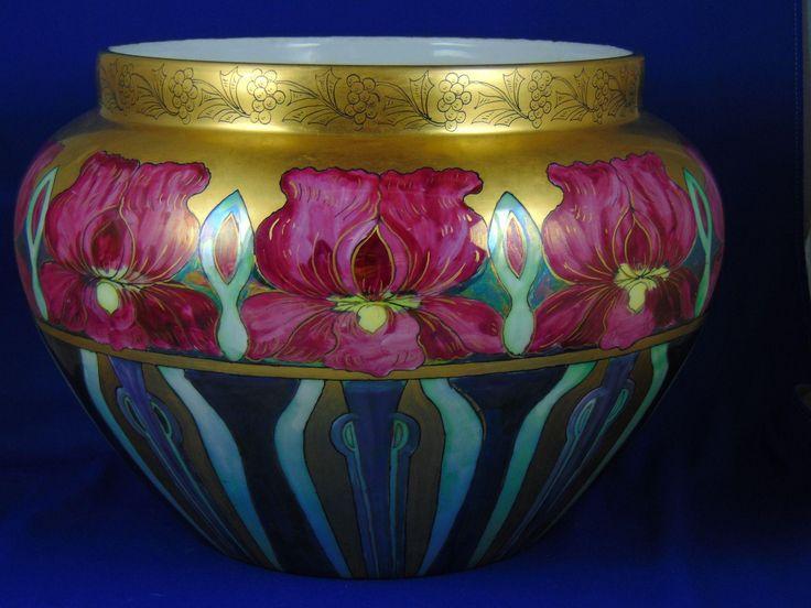 "Large William Guerin (WG&Co.) Limoges Arts & Crafts Iris Lustre Motif Jardinière (Signed ""Mary Lindenberger""/c.1900-1932)"