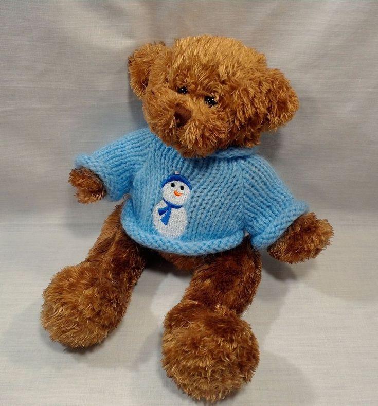 "Plush Teddy Bear 11"" Blue Sweater Snowman Soft Fluffy Animal Adventure  #Unbranded"