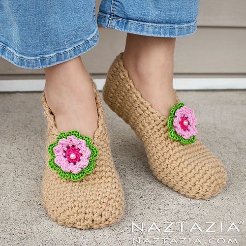 These slippers work up quickly using two strands of yarn held together. They are durable, soft and cozy. Plus with the addition of puffy paint or aquarium silicone on the bottom you can make them slip resistant.