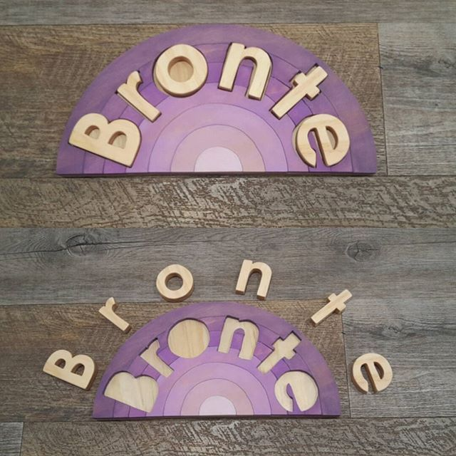 A purple rainbow especially for Bronte went out the door this afternoon   #nofilter #customrainbow #namepuzzle #woodenpuzzle #woodentoys #kidstoys #purple #oneofakind