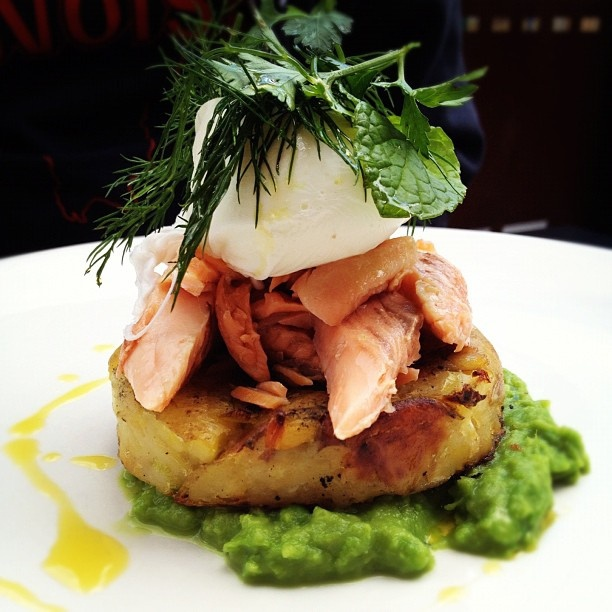 Potato and leek hash with smashed mint peas, smoked trout and a poached egg ~ by Jane Wong