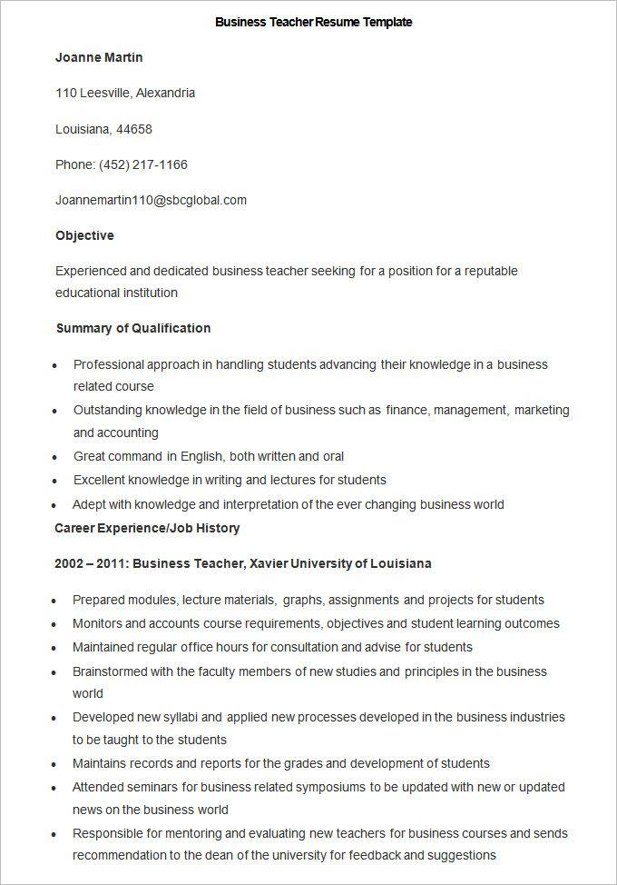 Sample Business Teacher Resume Template , How to Make a Good Teacher